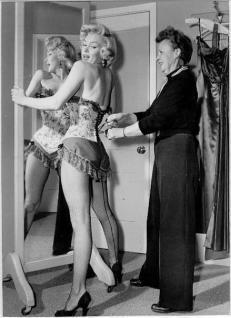 Marilyn Monroe gets fitted for river of no return