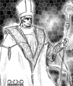 Damien de Montesilla behandlad framför mosaikfönster