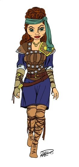 Julia från en fyll-i-bild tuschad och färgskala