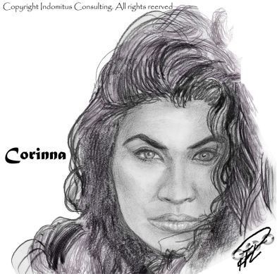 Corinna 1:a porträtt blyerts, kol & suddstift