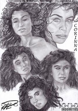 Andra omgången porträtt-och ansiktsstudier Corinna
