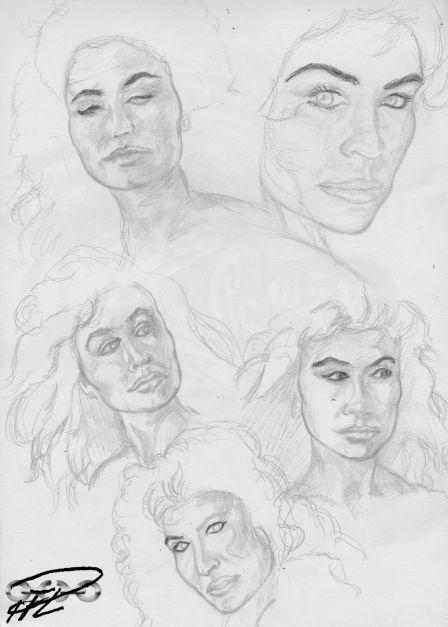 Grundskisser till 2:a omgången porträttteckningar Corinna