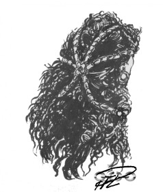Corinna hår m huvudsmycke, bläck, tusch & marker