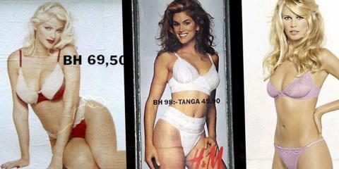 HM kampanjer  -Anna Nicole Smith, Cindy Crawford, Claudia Schiffer