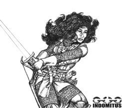 Corinna svingar svärdet i rustning, tusch