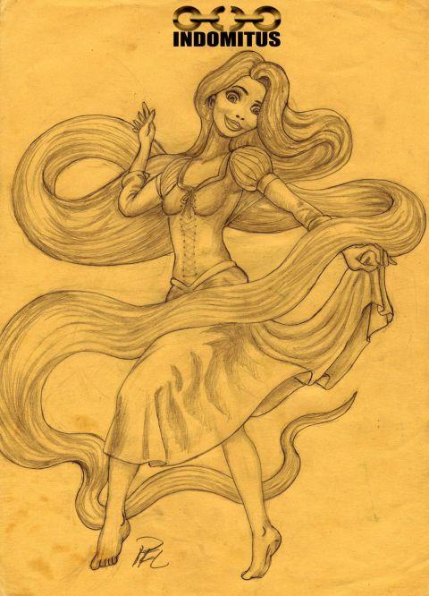 Rapunzel dansar, fördig skiss före färg