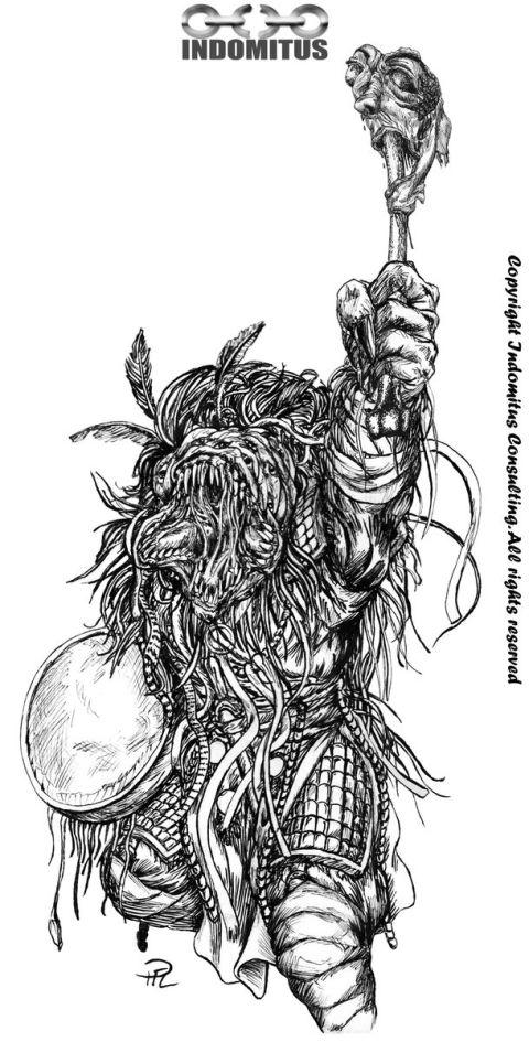 Kashar Nydesign m Mongol andetrumma & ansikte på benknota tusch resize