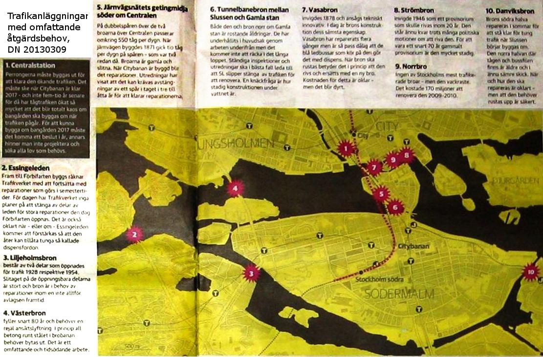 Karta framtida trafikutmaningar innerstaden DN STHLM 20130309