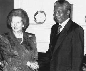 Thatcher och Mandela - Inte längre terrorist, tydligen.
