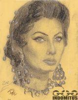 Zoe - skiss i kol (charchoal) på grovt papper m vit crayon