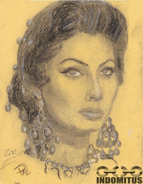 Zoe from Sophia Loren charcoal w highlights kolteckning resized