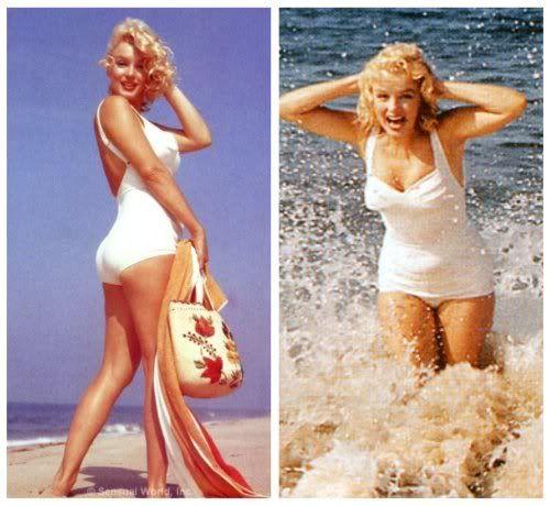 Marilyn Monroe 1950s bathing suit white baddräkt_1