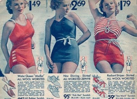 Womens bathing suits ad 1930s baddräkter