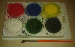 Barnvattenfärger 6 puckar + pensel
