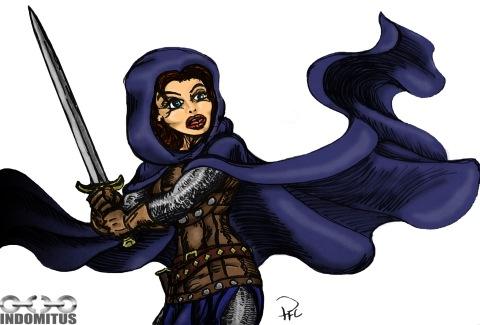 Corinna i seriestil färglagd