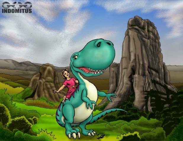 Prins Albin rider Dinosaurie m bakgrund
