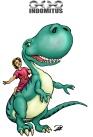 Prins Albin rider sin Dinosaurie - färglagd
