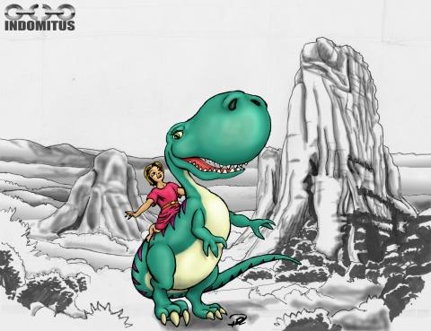 Prins Albin & Dina Dinosaurien m bakgrund ofärgad