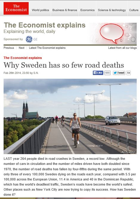 The Economist Why Sweden has so few road deaths - 26 Feb 2014