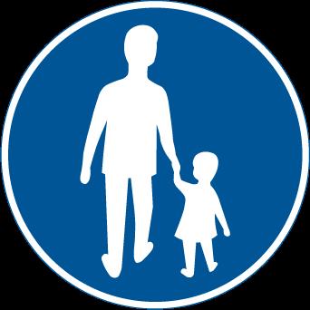 Trafikskylt vuxen m barn d51