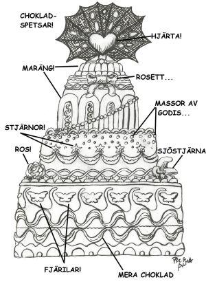 Almas Tårta m dekorationer utsatta
