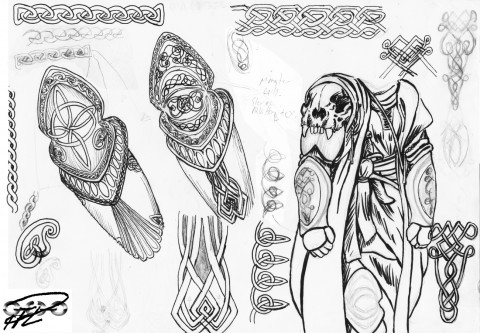 Alla Drabbningars Moder - utkast detaljer Yakanes rustning keltisk celtic details