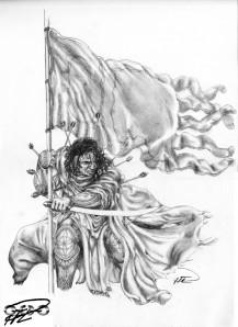 Alla Drabbningars Moder - Yakane muslim warrior w war flag standoff