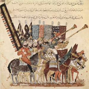 1200-tals illustration av muslimska banér och militärmusiker