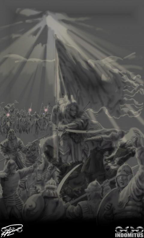 Alla Drabbningars Moder - Färdig målning ljuseffekter