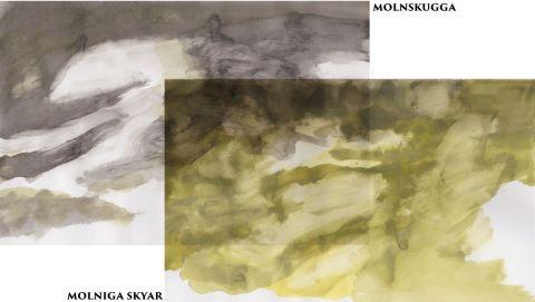 Molniga skyar vattenfärg sammansättning