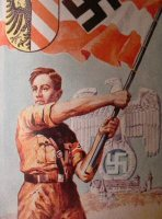 Hitler Youth Boy With Nazi Flag