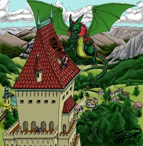 Draken lagar Borgens tak färglagd
