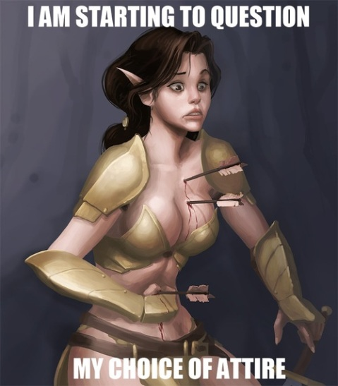 Female fantasy armor fail arrows