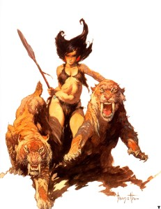 Frank Frazetta huntress & sabertooths