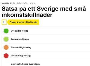 SR & SVT Politisk Kompass Frågeformulär 1