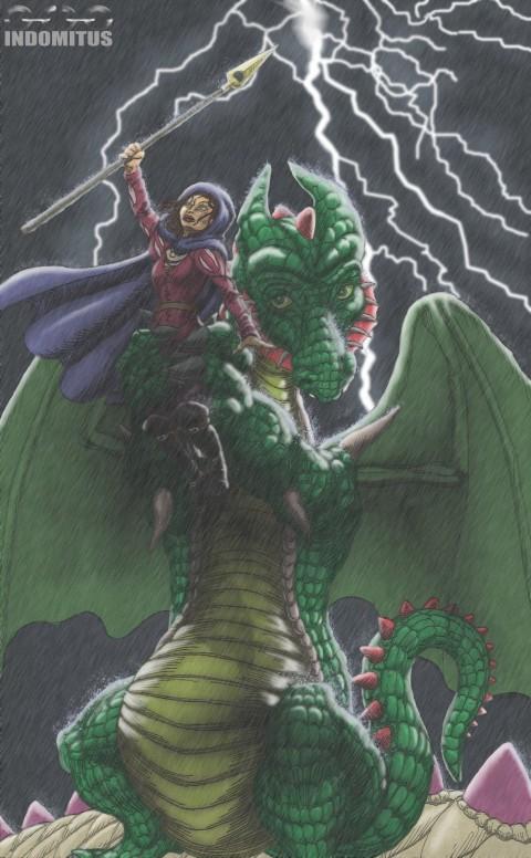 Draken Pelle lyfter Prinsessan för blixthealing stitched color & rain