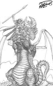 Draken Pelle lyfter Prinsessan för blixthealing stitched