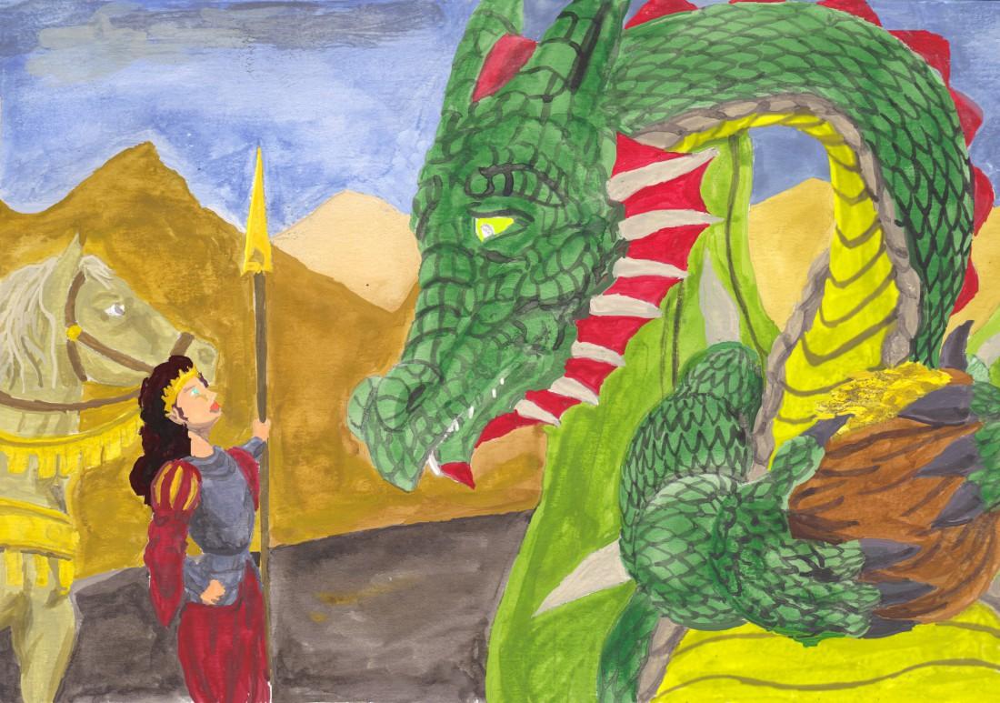 Julia grälar på Draken om guldet vattenfärg