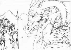 Julia grälar på draken om rikets guld