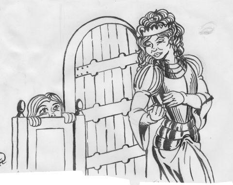 Julia tar på rustning
