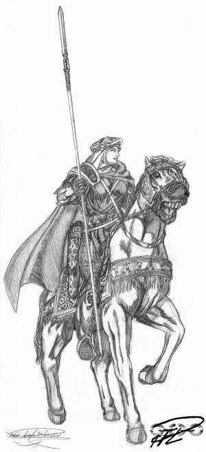Rustad Hurra -Kiralatet skiss kvinnlig krigare Fantasy Mamluk