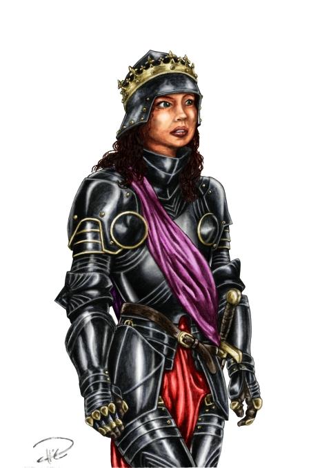 Julia i helrustning & krona överliggande färg princess armor