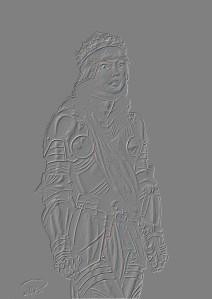 Julia i helrustning & krona relief