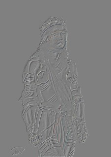 Julia i rustning reliefbild