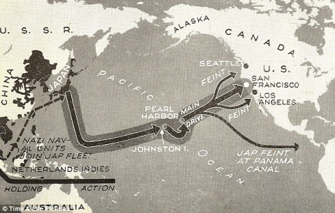 LIFE mag 1942 - Pearl Harbor revisited - plan for Japanese Invasion of America