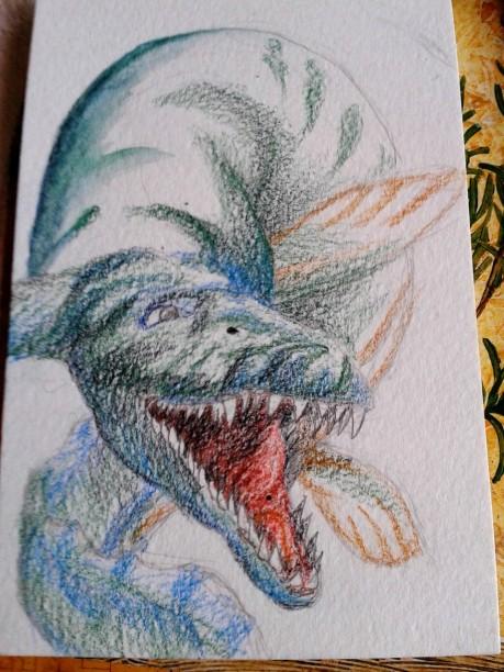 Julians Mosasaurus akvarellpennor före vatten