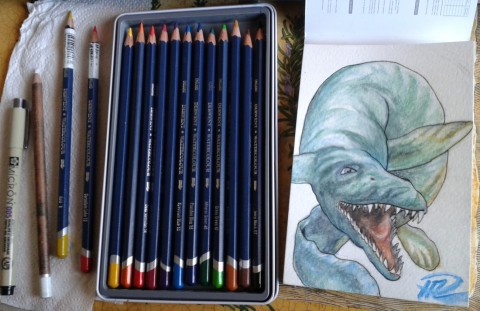 Julian's Mosasaurus utkast watercolor pencils akvarellpennor 23