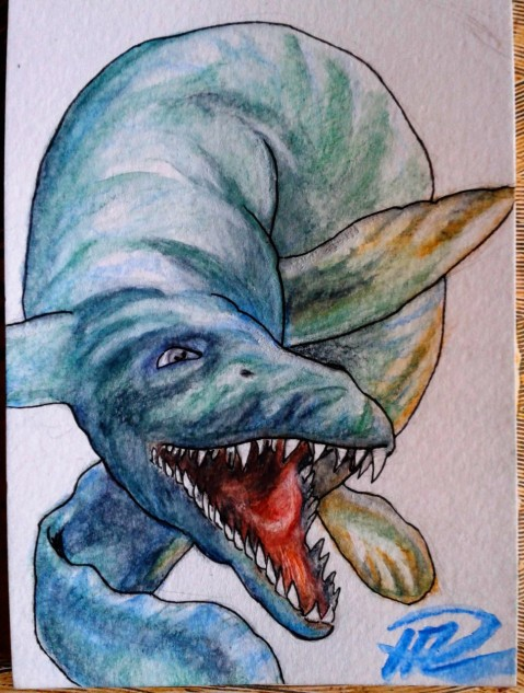Julian's Mosasaurus utkast watercolor pencils akvarellpennor 24