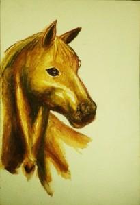 Akvarelltest häst