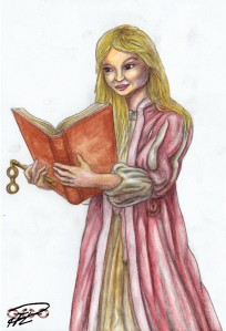 Amanda teckning+akvarell